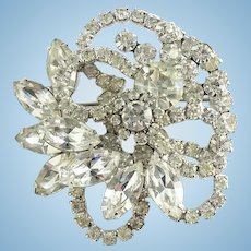 Vintage Juliana Clear Ice Rhinestone Elaborate Tiered Brooch Pin Floral Swirl