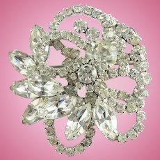 Vintage Juliana Clear Ice Rhinestone Elaborate Tiered Brooch Pin Floral Swirl