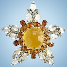 Vintage Large High Dome Rhinestone Five Pointed Star Brooch Pin Amber Clear Rhinestones