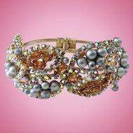 Vintage Designer Clamper Bracelet Blue-Gray Faux Tahitian Pearl Amber AB Rhinestone Encrusted