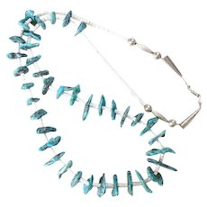 Vintage Southwestern Morenci Turquoise and White Heishi Bead Necklace 34 Inch