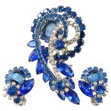Juliana Chalk White Blue Striped Demi Parure Rhinestone Set Brooch Clip Earrings Silvertone Setting Book Piece