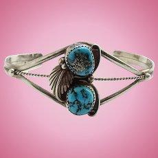 Vintage Southwestern Morenci Turquoise Sterling Cuff Bracelet Signed S N.925/Turquoise Bracelet/Turquoise Jewelry/Morenci Mine Turquoise