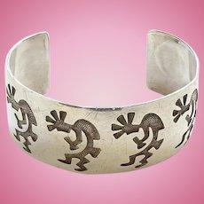 Vintage Hopi Native American Kokopelli Silver Overlay Cuff Bracelet Signed Sterling T/Hopi Cuff/Hopi Bracelet/Hopi Jewelry/Sterling Silver