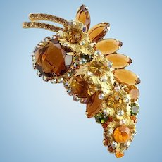 1964 Vintage Juliana Elaborate Smoked Topaz Rhinestone Leaf Pin Brooch with Brass Leaves Autumnal Colors
