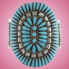 Zuni Turquoise Petit Point Cuff Bracelet Rosette Cluster Signed GAB Sterling Native American Vintage
