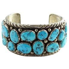 Vintage Native American Navajo Turquoise Cluster Cuff Bracelet Sterling Silver Signed HS 100.4 Grams