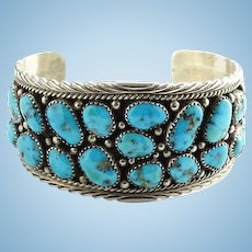 Native American Navajo Morenci Turquoise Cluster Cuff Bracelet Sterling Silver Vintage Signed JS