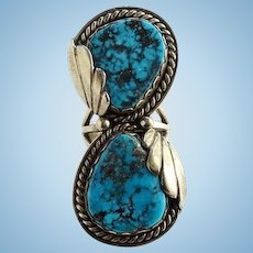 Navajo Mary Morgan Morenci Turquoise Ring Size 6.75 Sterling Silver Signed M Native American Vintage
