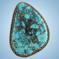 Navajo Morenci Turquoise Ring Vintage Size 8 Native American Gorgeous Stone Vintage
