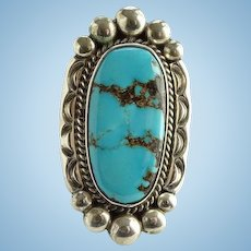 Navajo Stover Paul Turquoise Sterling Silver Ring Size 9.75 Signed Bear Symbol Vintage
