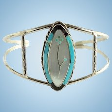Zuni Vintage Cuff Bracelet Mother of Pearl Turquoise Onyx Inlay Sterling Silver Vintage