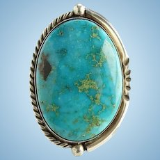 Navajo Turquoise and Sterling Ring by B. Yazzie Size 8 Native American Signed Gorgeous Stone Vintage