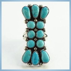 Zuni Artist Julie O. Lahi Sleeping Beauty Turquoise Cluster Ring Size 8 Native American Vintage