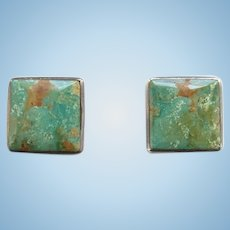 Vintage Southwestern Turquoise Square Pierced Earrings Great Stones Hallmarked Sterling