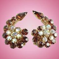 Vintage large Juliana Flower Spray Rhinestone Clip Earrings Topaz Aurora Borealis Stones