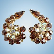 Vintage large Juliana Flower Spray Rhinestone Clip Earrings Topaz Aurora Borealis Stones