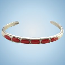 Vintage Zuni Coral Inlay Southwestern Stacking Cuff Bracelet SMALL SIZE Sterling Silver