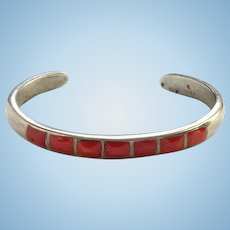 Vintage Zuni Southwestern Coral Inlay Cuff Bracelet Sterling Silver Stacking Bracelet