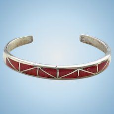 Southwestern Zuni Vintage Coral Inlay Stacking Cuff Bracelet Sterling Silver