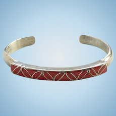 Vintage Zuni SKJ Janita and Sibert Kallestewa Coral Inlay Cuff Bracelet Signed Sterling