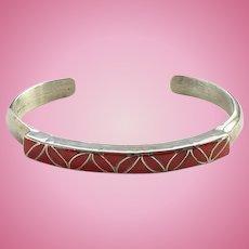 Vintage Zuni SKJ Janita and Sibert Kallestewa Coral Inlay Cuff Bracelet Signed Sterling