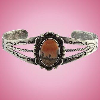 Vintage Navajo Fred Harvey Era Petrified Wood Cuff Bracelet Rain Cloud Stamp Decoration