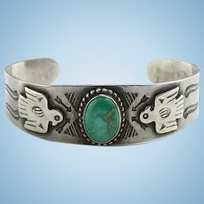 Vintage Navajo Thunderbird Turquoise Cuff Bracelet Fred Harvey Era Horse Stamp Decoration