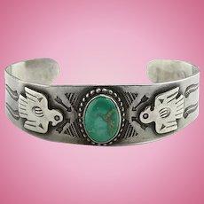 Vintage Navajo Thunderbird Turquoise Cuff Bracelet Fred Harvey Era Horse Stamp Decoration
