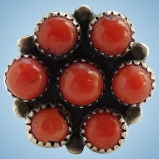 Vintage Native American Natural Coral Cluster Ring Size 7 3/4 Sterling Silver