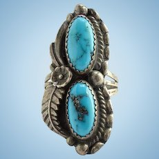 Vintage Navajo Morenci Turquoise Ring Signed SC Sterling Size 6 Native American