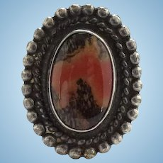 Vintage Navajo Petrified Wood Pinky Ring Fred Harvey Era Stamp Decorated Sterling Shank Size 4 1/2