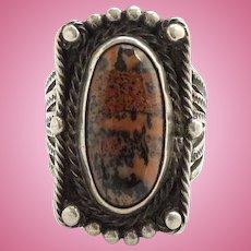 Vintage Navajo Sterling Fred Harvey Era Petrified Wood Ring Size 6 1/2 Stamp Decorated Cold Chisel Split Shank