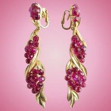 Rare NOS 1966 Crown Trifari Fuchsia Briolette Long Dangle Clip Earrings/ New Old Stock/ Jewels by Trifari/ Trifari Jewelry
