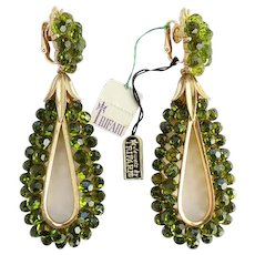 Rare 1966 Crown Trifari NOS Olive Green Briolette Long Hoop Earrings with Tag/ New Old Stock/ Jewels by Trifari/ Trifari Jewels