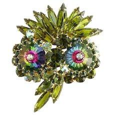 1964 Juliana Green Rhinestone Owl Brooch Pin with Green Margarita Stones DeLizza & Elster/ D & E/ Juliana Jewelry