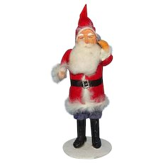 Old Antique Japan Christmas Santa Claus St Nicholas in Red Felt Suit Carrying Toy Pack 9.5in