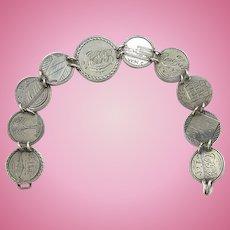 Antique Sterling Silver Coin Remembrance Memorial Bracelet Engraved James Ross