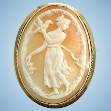 Antique 10K Yellow Gold Carved Shell Cameo Brooch Pin Aphrodite Greek Goddess Dove
