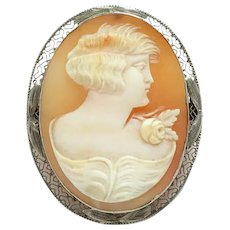 Antique 10K Gold Carved Shell Cameo Pin Brooch Woman with Bobbed Hair C1920s