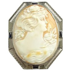 Antique Art Deco Carved Shell Cameo Pendant Pin Brooch 10K White Gold Filigree Woman with Roses