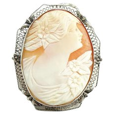 Antique Sterling Silver Carved Shell Cameo Portrait Pin Brooch Woman with Long Curls