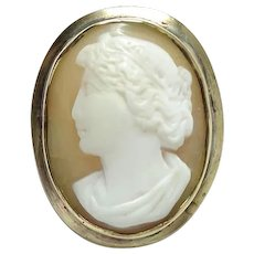 Antique Hand Carved Shell Cameo Pin Brooch Left Facing Gold Filled Setting