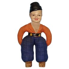 Old Mystery Male Smoker Character Doll 14 Inch Composition Head Cloth Body
