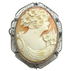 Antique Sterling Silver Filigree Carved Shell Cameo Portrait Pin Brooch of Woman