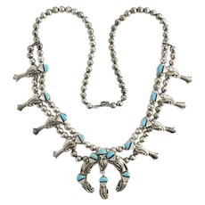 Vintage Small Zuni Squash Blossom Necklace Turquoise MOP Inlay Marked Sterling 22 Inch
