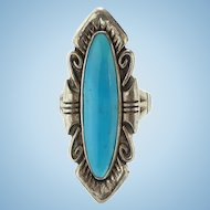Vintage Bell Trading Post Turquoise Ring Size 7 Native American Signed Sterling