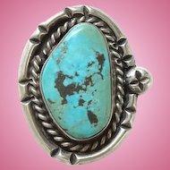 Vintage Native American Turquoise Ring Size 5 3/4 Sterling Silver Chisel Split Shank
