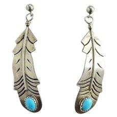 Vintage Southwestern Big Turquoise Feather Pierced Earrings Marked Sterling Silver
