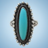 Vintage Zuni Turquoise Ring Signed JP Sterling Jason Ukestine Size 7 1/2 Stamp Decoration